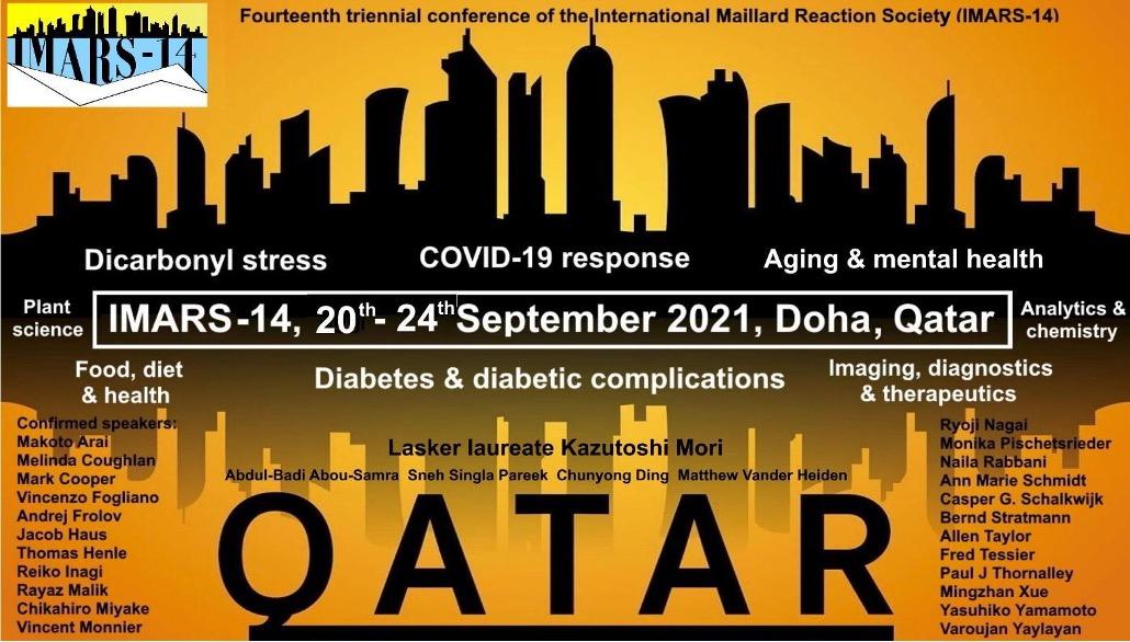 الشكل (2) الندوة الدولية الرابعة عشرة حول تفاعل مايلارد - جلوكوز البروتين في الغذاء والصحة والمرض. مؤتمر افتراضي تستضيفه الدوحة، قطر في 20-24 سبتمبر 2021.