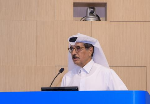 His Excellency the Minister of State Dr. Hamad bin Abdulaziz Al-Kuwari at HBKU (archived image).