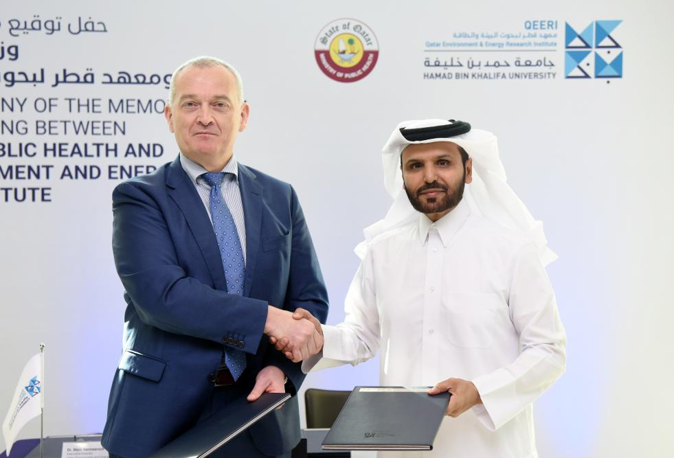 Dr. Marc Vermeersch, executive director of the Qatar Environment and Energy Research Institute, and Dr. Salih Al-Marri, MoPH Assistant Minister for Health Affairs.
