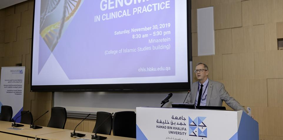 Dr. Edward Stuenkel, Dean of the College of Health and Life Sciences, part of Hamad Bin Khalifa University, speaking at the symposium.